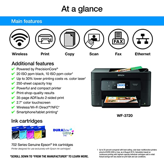 Epson Workforce Pro WF-3720 Wireless All-in-One Color Inkjet Printer, Copier, Scanner with Wi-Fi Direct, Amazon Dash Replenishment Enabled (Renewed)