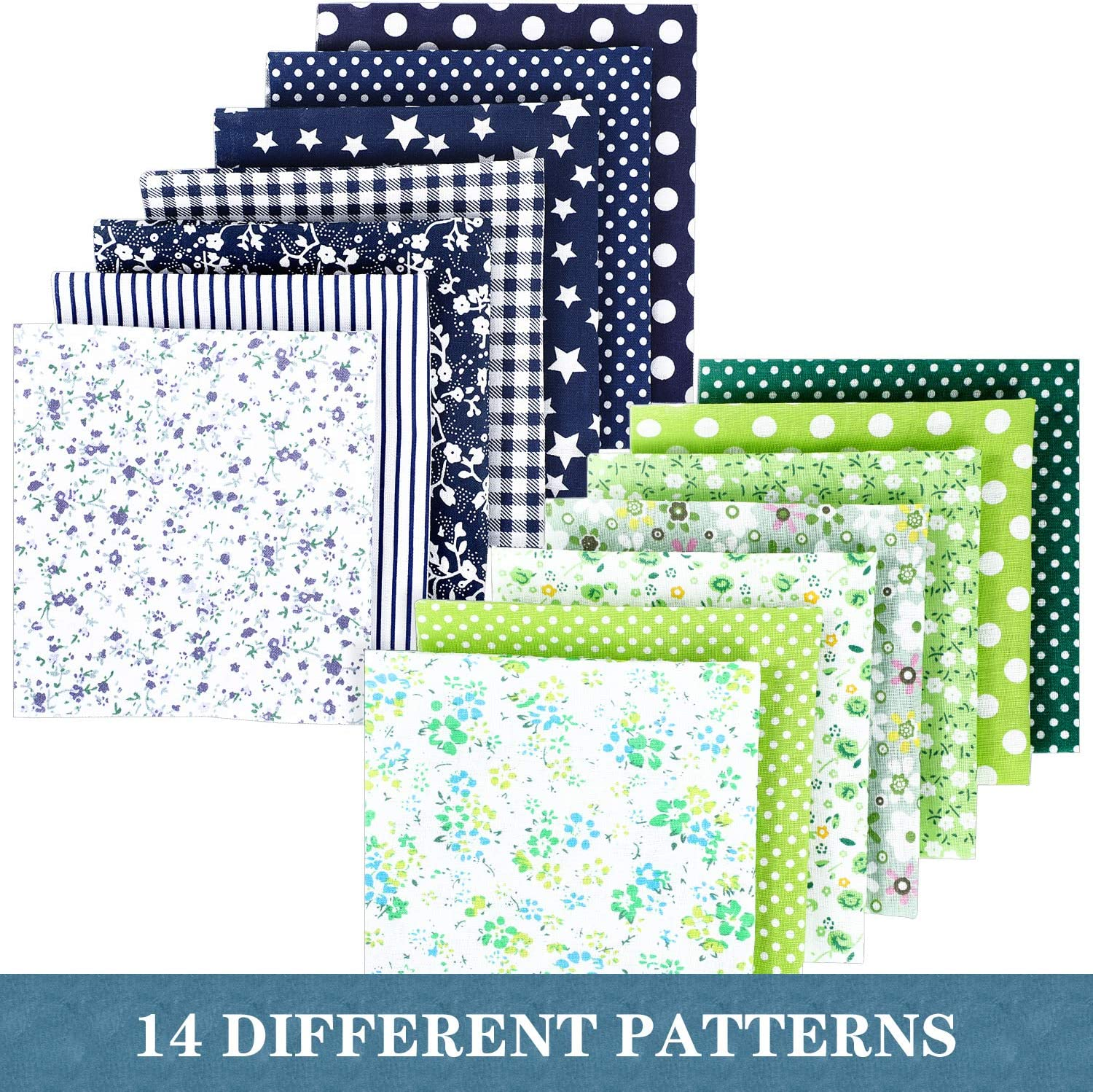 14 Pieces Cotton Fabric Patchwork Squares Bundle Craft Quilting Sewing Patchwork Different Pattern Cloths Handmade Accessories with 13.1 Yards Elastic Rope and 20 Pieces Metal Wires