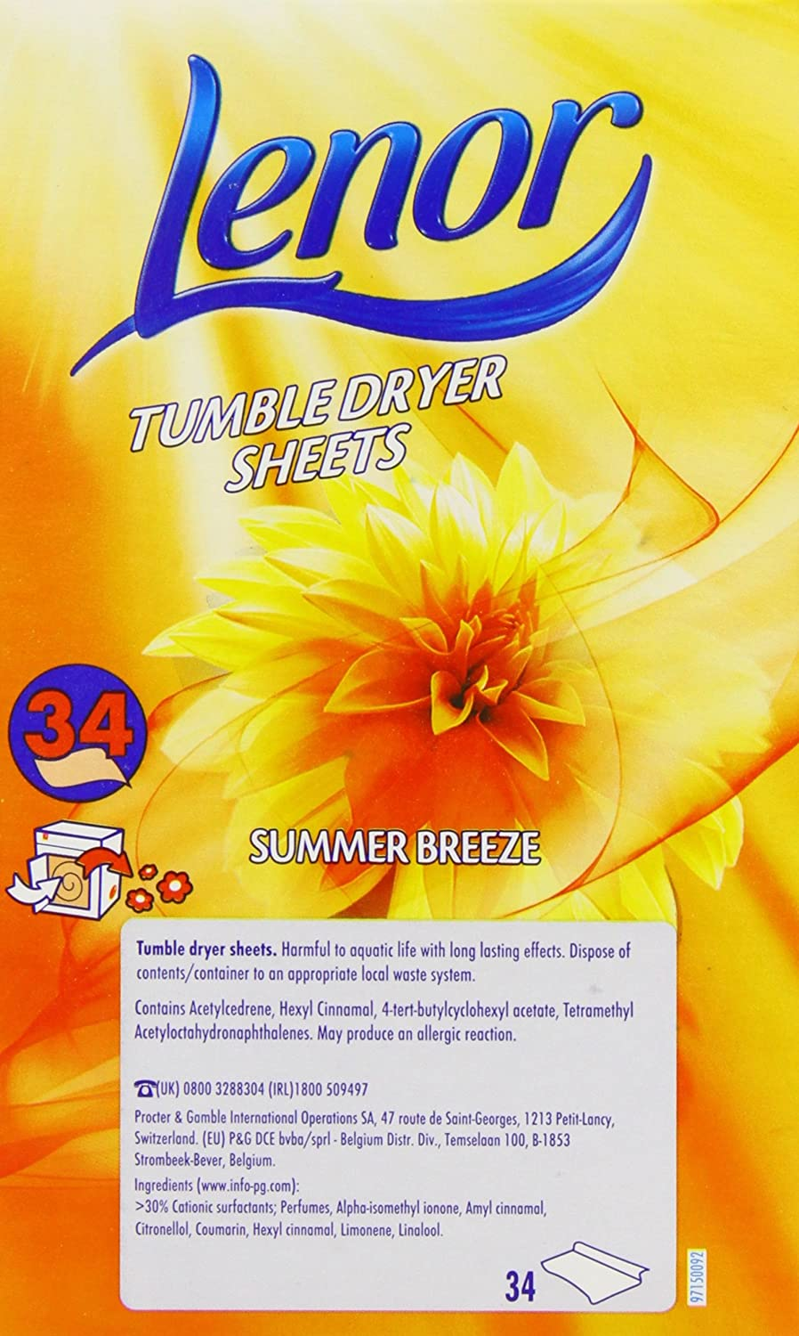 Lenor Tumble Dryer Sheets Summer Breeze 34 Sheets (Pack of 3): Amazon.es: Informática