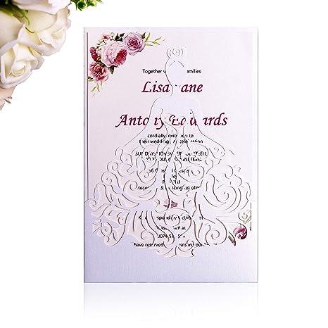 Amazon Com Ponatia 25pcs Laser Cut Crown Wedding Invitations Cards