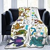 Scooby Doo Flannel Fleece Throw Blanket Lightweight All-Season Plush Blanket Size 50x40 60x50 80x60 Inch
