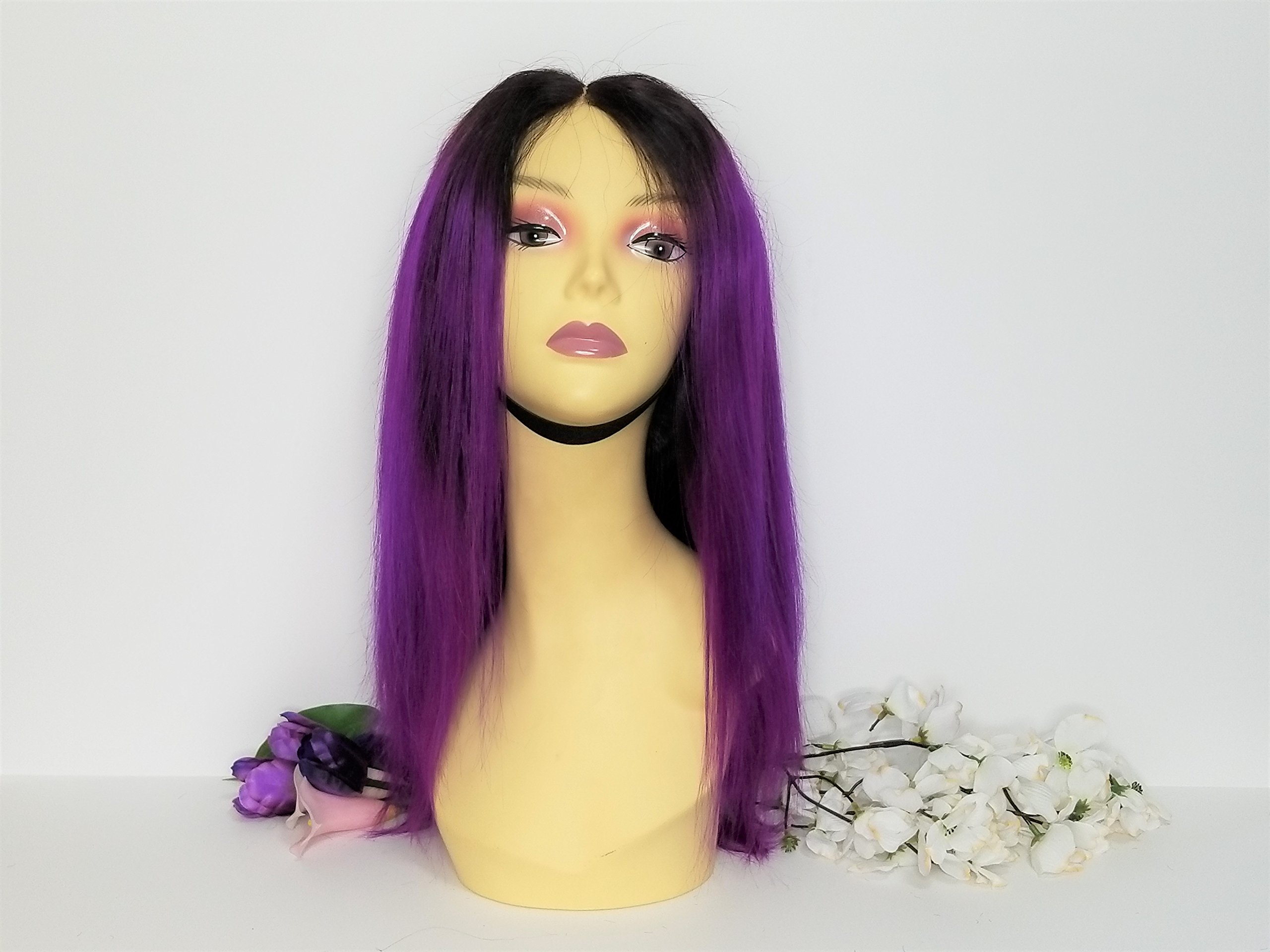 Glueless Lace Front Human Hair Wig Purple Lace Closure Wig