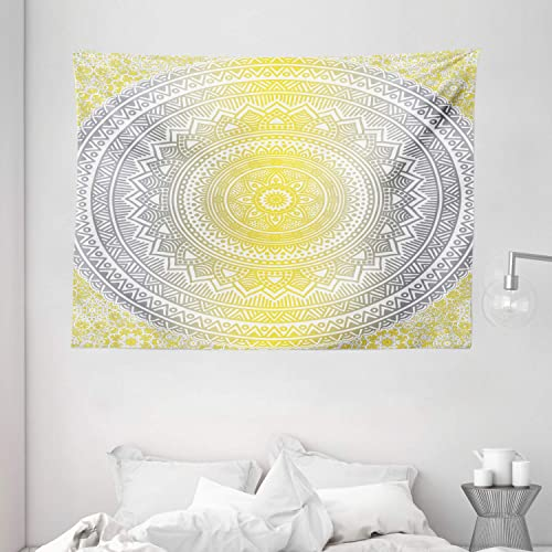 Ambesonne Grey and Yellow Tapestry, Soft Pastel Color Ombre Mandala Circular Art Medallion Print, Wide Wall Hanging for Bedroom Living Room Dorm, 80 X 60 , Yellow Grey
