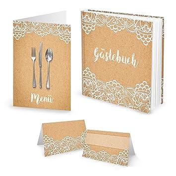 Set 10 Menukarten 25 Tischkarten Kraftpapier Vintage Spitze Plus