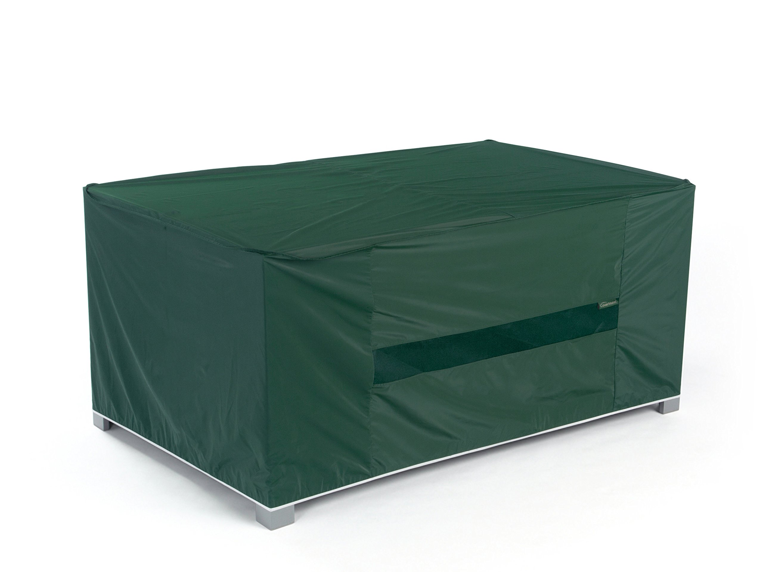 Covermates - Rectangular Dining Table Cover - 138W x 68D x 30H - Classic - 12-Gauge Vinyl - Elastic Hem - Mesh Vent for Breathability - 2 YR Warranty - Weather Resistant - Green by Covermates