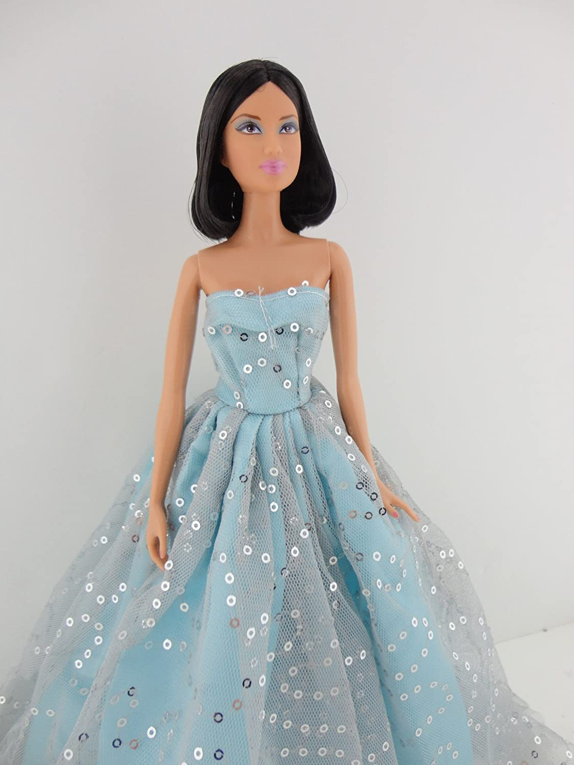 A Light Blue Ball Gown with Lots of Sparkle Made to Fit the Barbie Doll Olivia/'s Doll Closet