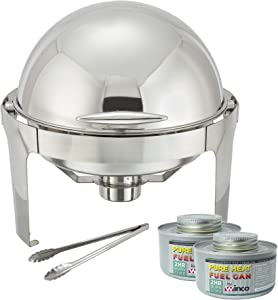 Winware 6 Quart Stainless Steel Round Roll Top Chafer, Chafing Dish Set with 2 Chafing Dish Fuel and 16-Inch Stainless Steel Multi-Function Tong