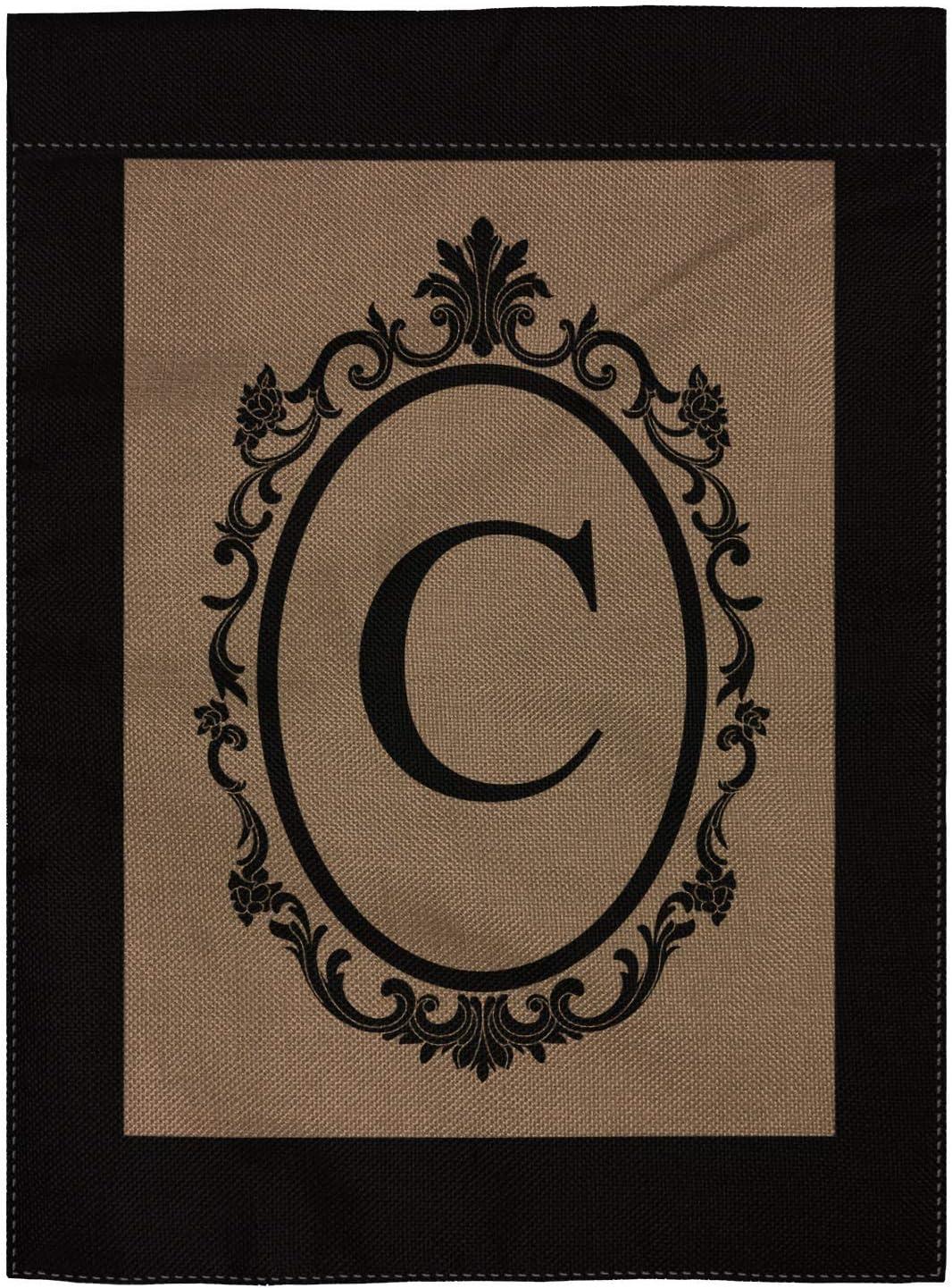 "pingpi Monogram C Burlap Double Sided Garden Flag - 18"" H x 12.5"" W"