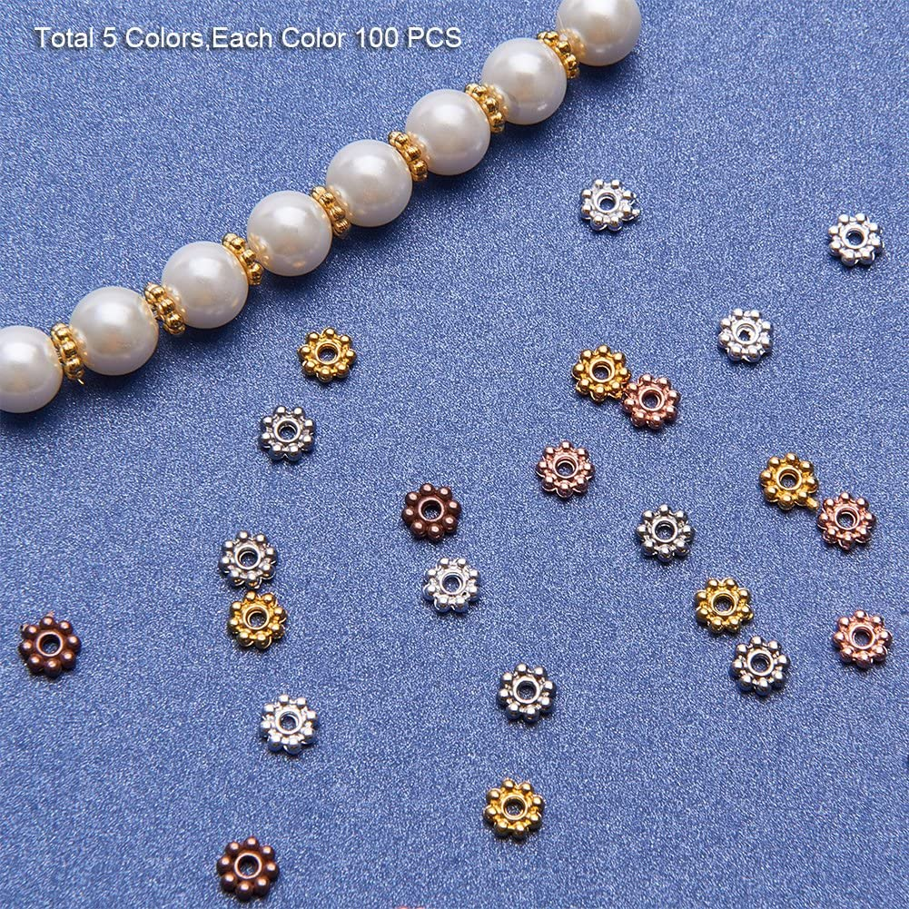 Mixed Color RANDOMLY ILOVEDIY Gold Tibetan Silver Daisy Flower Spacer Beads 6mm for Jewelry Making Charm Bracelets 300pcs