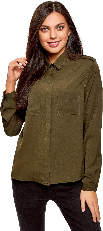 oodji Collection Mujer Blusa con Hombreras y Bolsillos en el Pecho