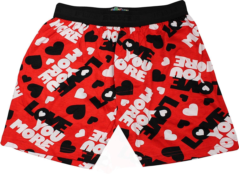 Fun Boxers Mens Fun Prints Boxer Shorts, Love You More, Large