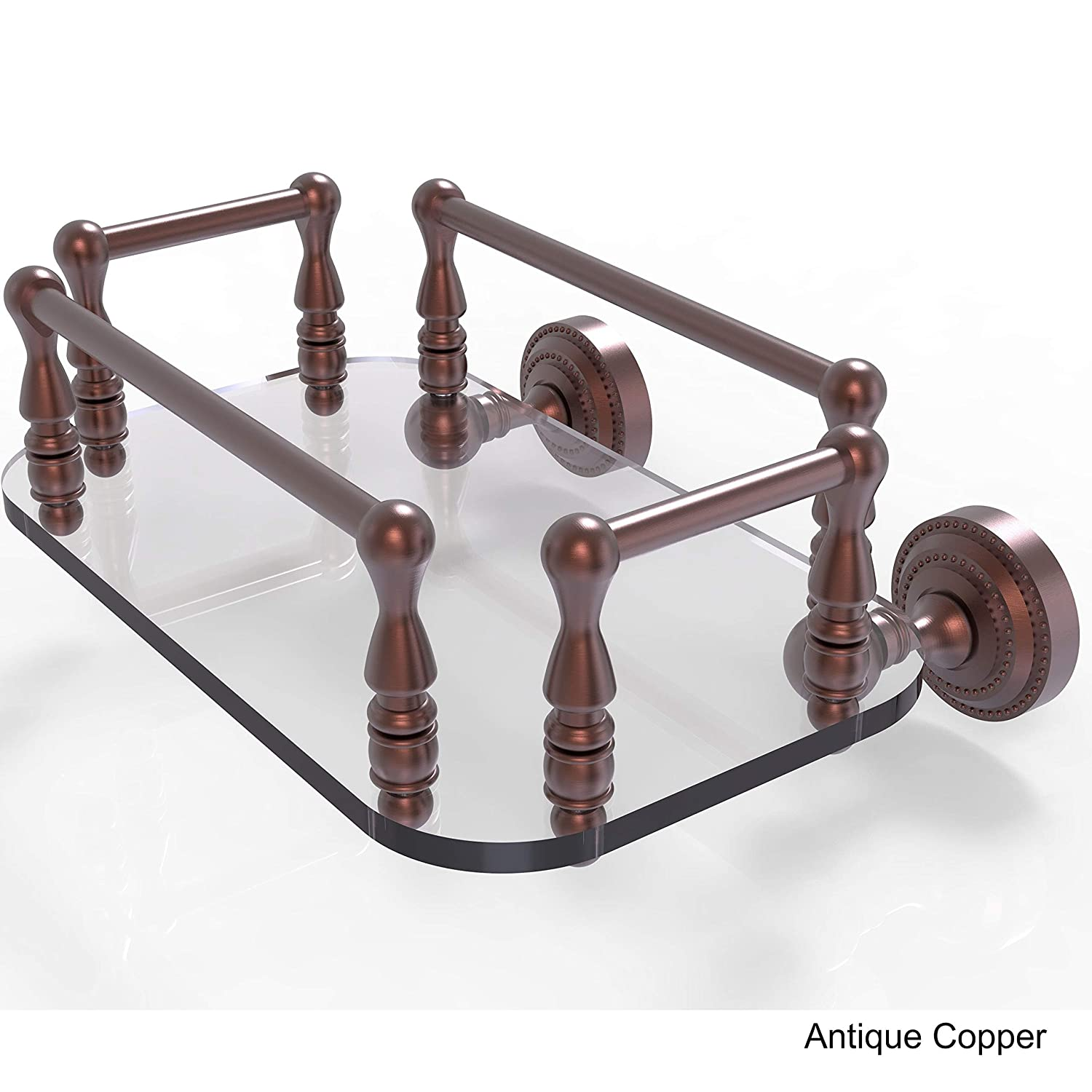 Allied Brass DT-GT-6-BBR Dottingham Collection Wall Mounted Glass Guest Towel Tray Brushed Bronze