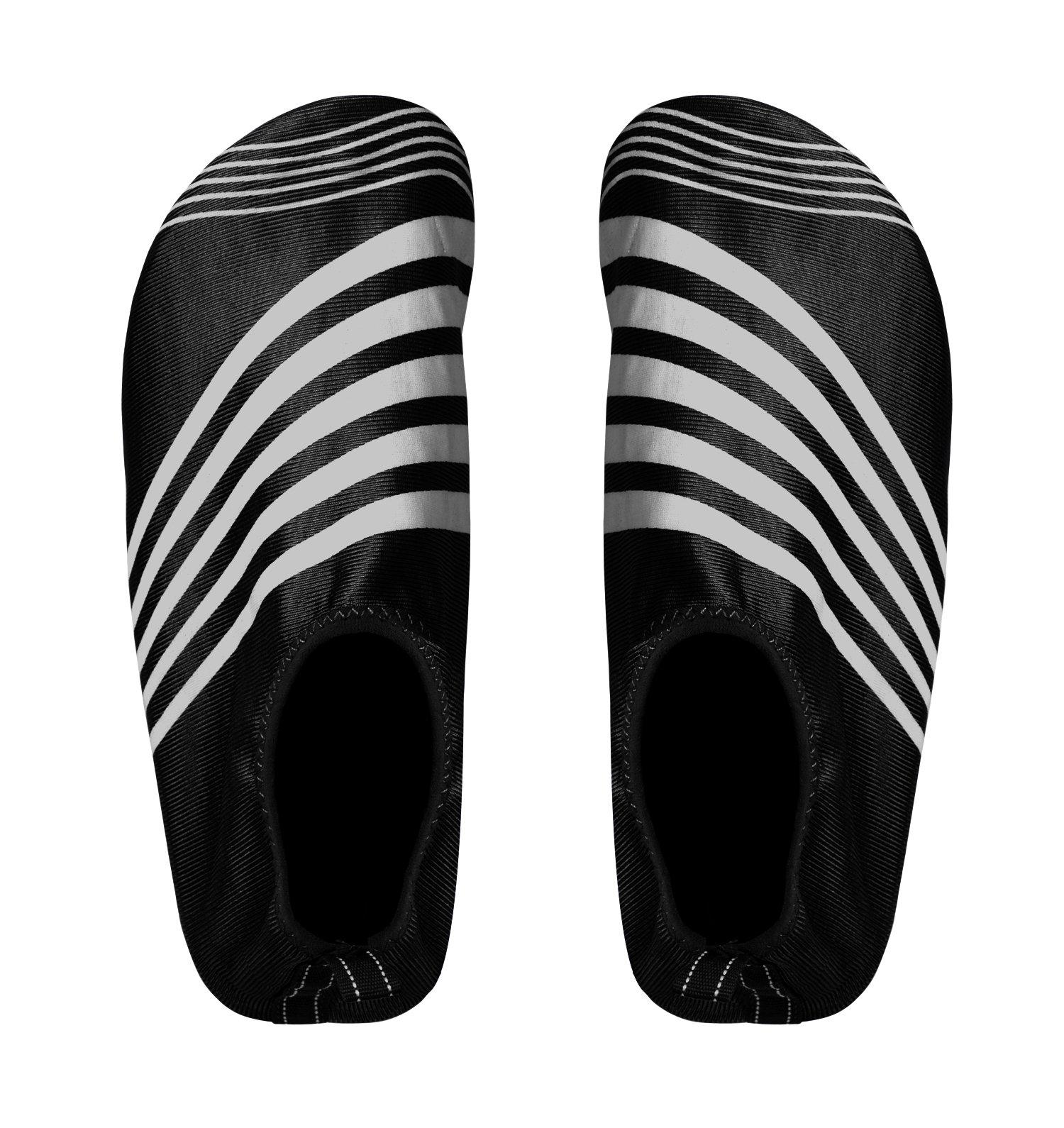 Peach Couture Mens Athletic Water Shoes Slip on Quick Drying Aqua Socks (Medium, Black Grey)
