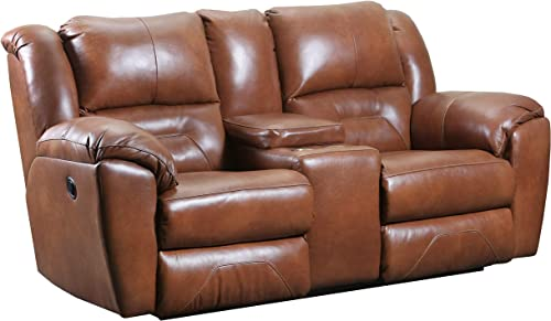 Ravenna Home Maplewood Reclining Console Loveseat, 81 W, Leather, Amber