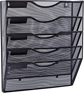 EASEPRES 5 Pockets Mesh Wall File Holder Organizer Office Hanging Magazine Rack, Black