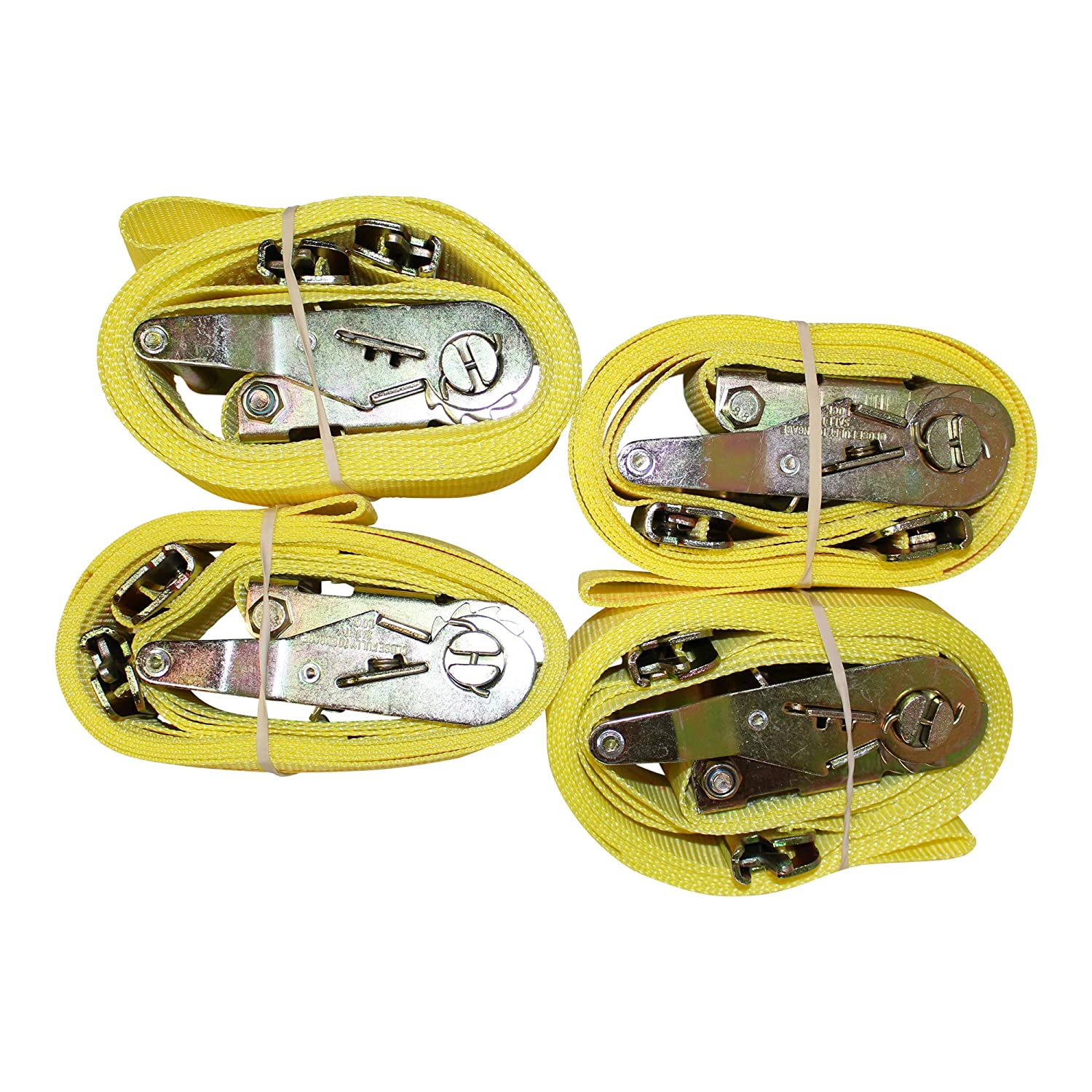 Flatbed E-Track Cargo Strap E Track Heavy Duty Adjustable Ratchet Straps 2 in x 12 ft Strap with Rachet - 2 Pack - Yellow ETrack Lashing Tie Down for Loading Truck Bed Roof Rack SGT KNOTS