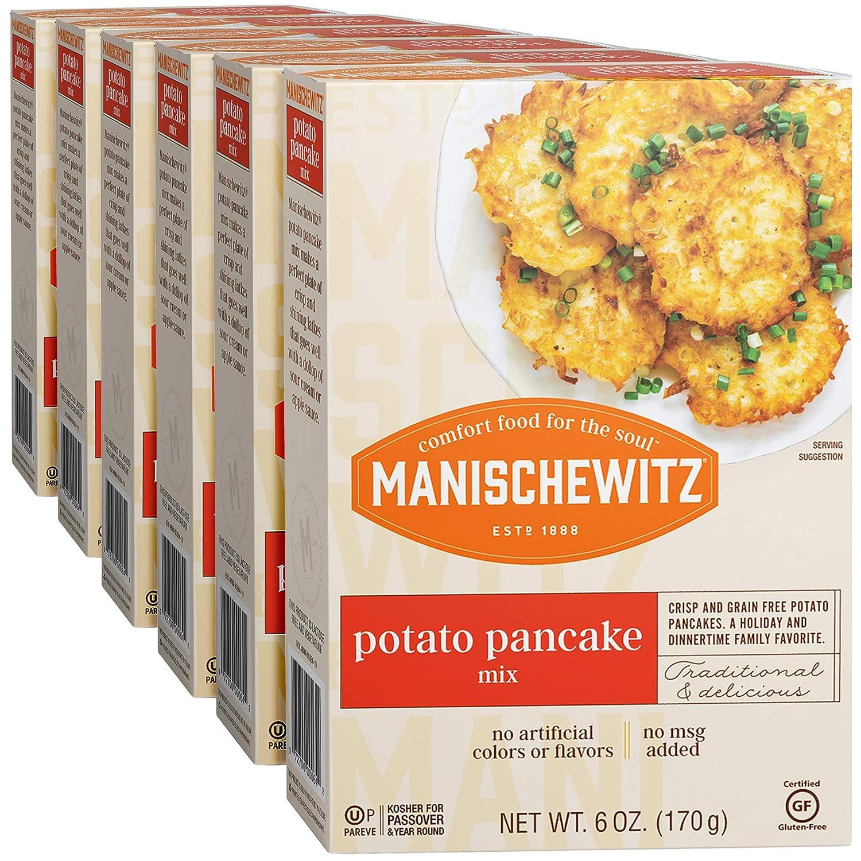 Manischewitz Potato Pancake Mix 6oz (6 Pack) Gluten Free, No MSG, Traditional Style Potato Latke Mix