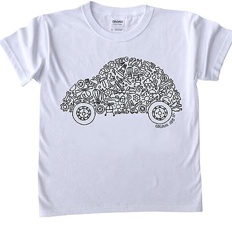 T Shirt Per Bambini Da Colorare Disegno Auto Dimensioni