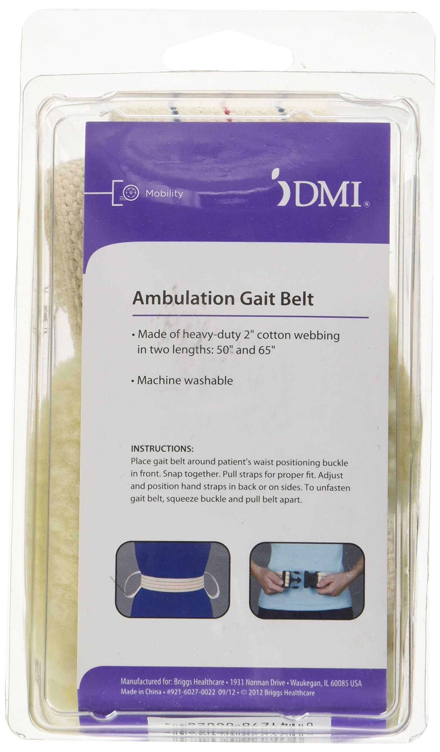 DMI Cotton Physical Therapy Gait Belt Patient Transfer Belt with Soft Fleece Handles, Quick Release, 50 Inches, Blue