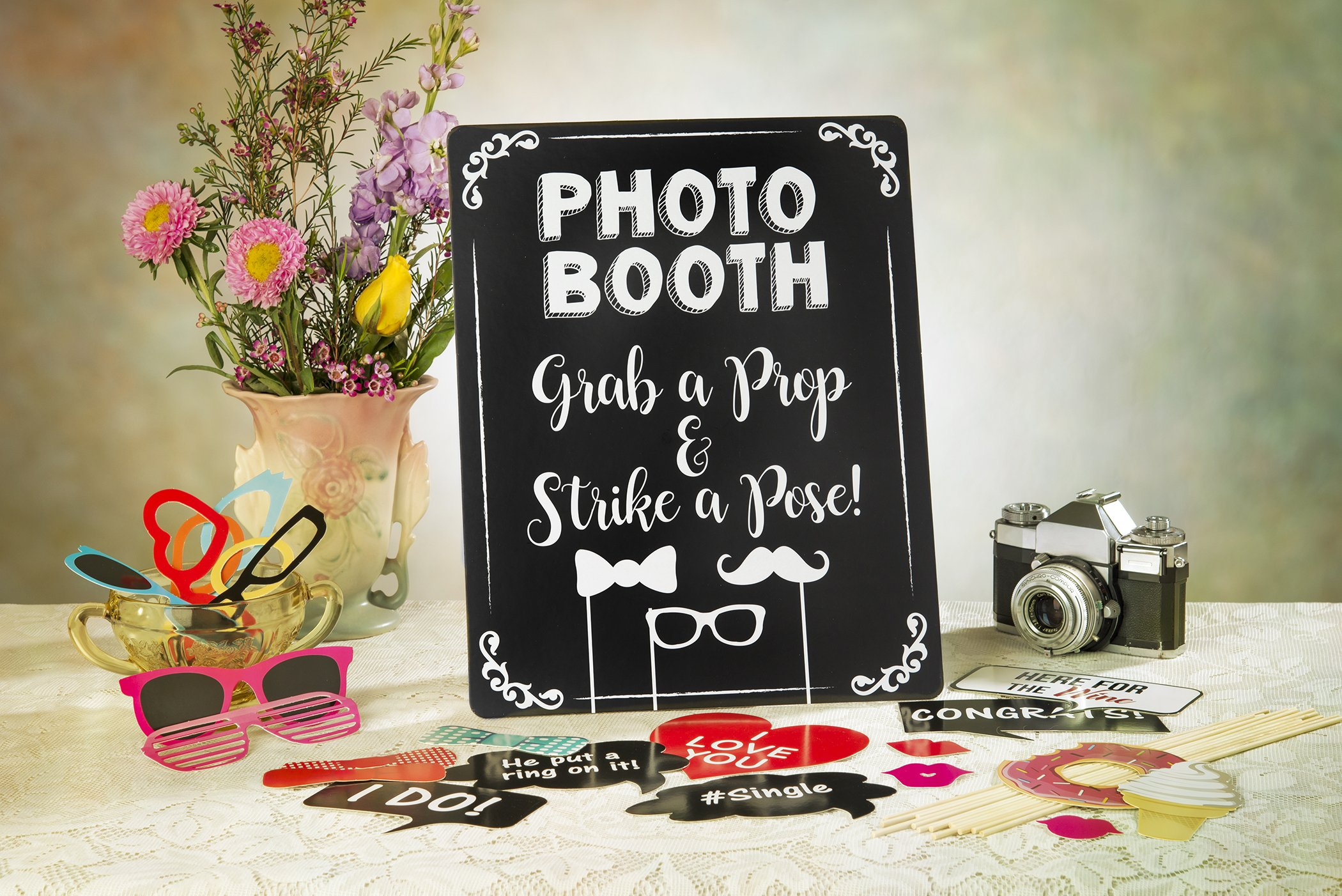 Wedding Photo Booth Props - Set with Chalkboard Style Black Sign, Wooden Sticks and Stand | 75 Pieces by Cumo (Image #5)