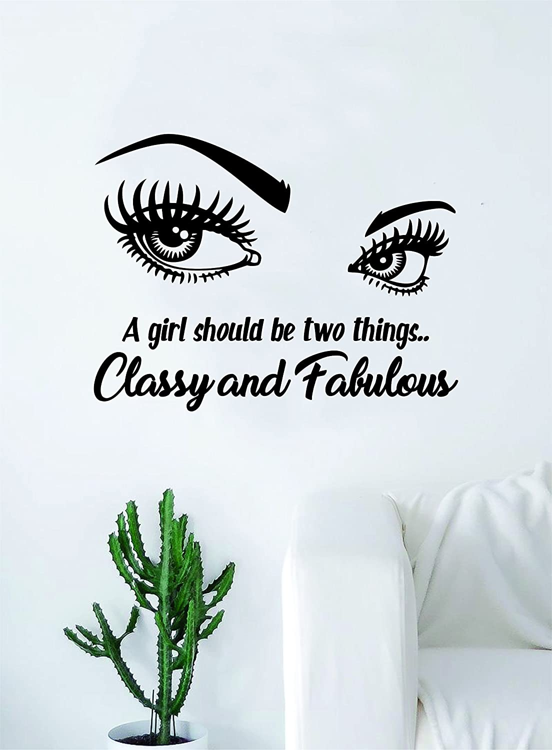 Classy and fabulous v2 quote beautiful design decal sticker wall vinyl decor art eyes coco chanel eyebrows eyelashes lashes make up cosmetics beauty salon