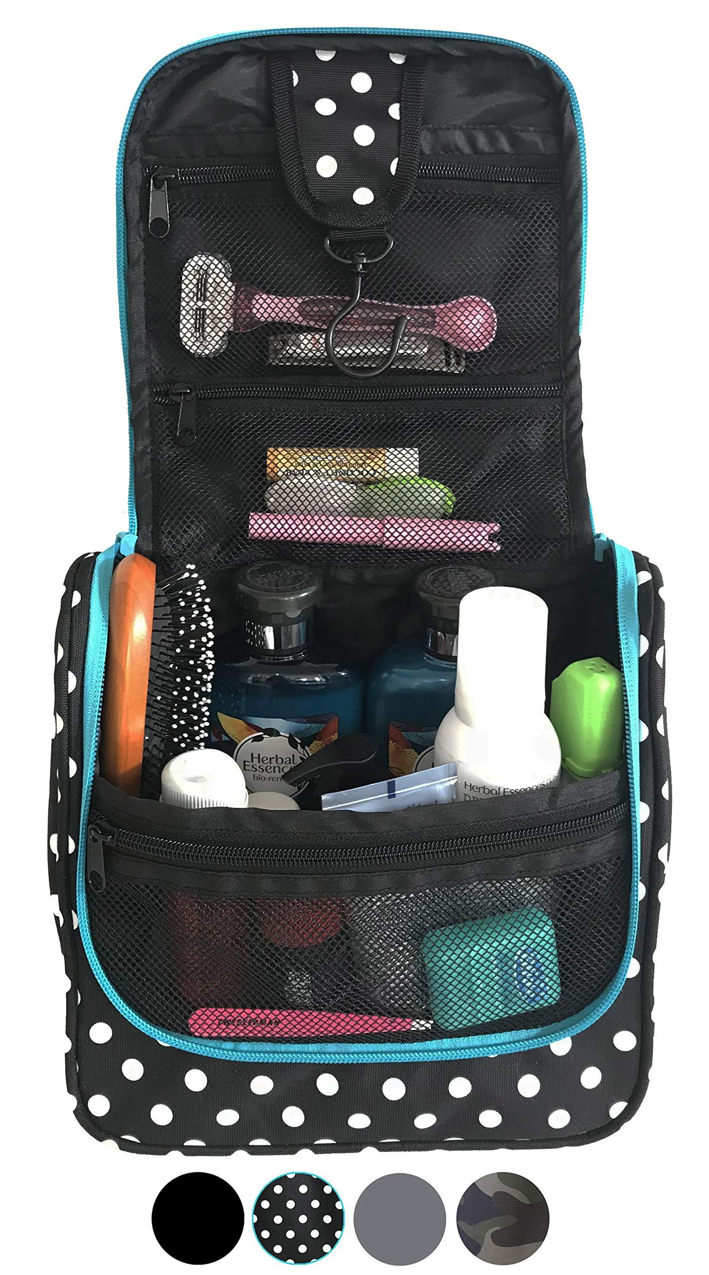 WAYFARER SUPPLY Hanging Toiletry Bag: Pack-it-flat Travel Kit, Black and White Polka Dot