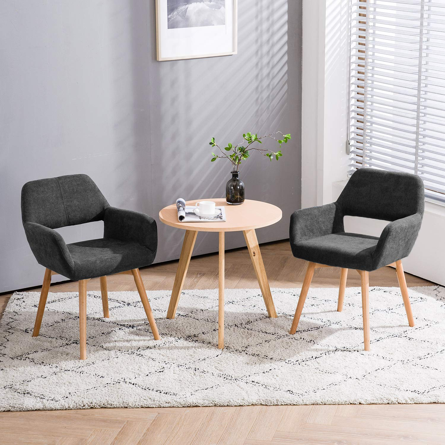 Homy Grigio Modern Living Dining Room Accent Arm Chairs Club Guest with Solid Wood Legs (Set of 2,Charcoal)