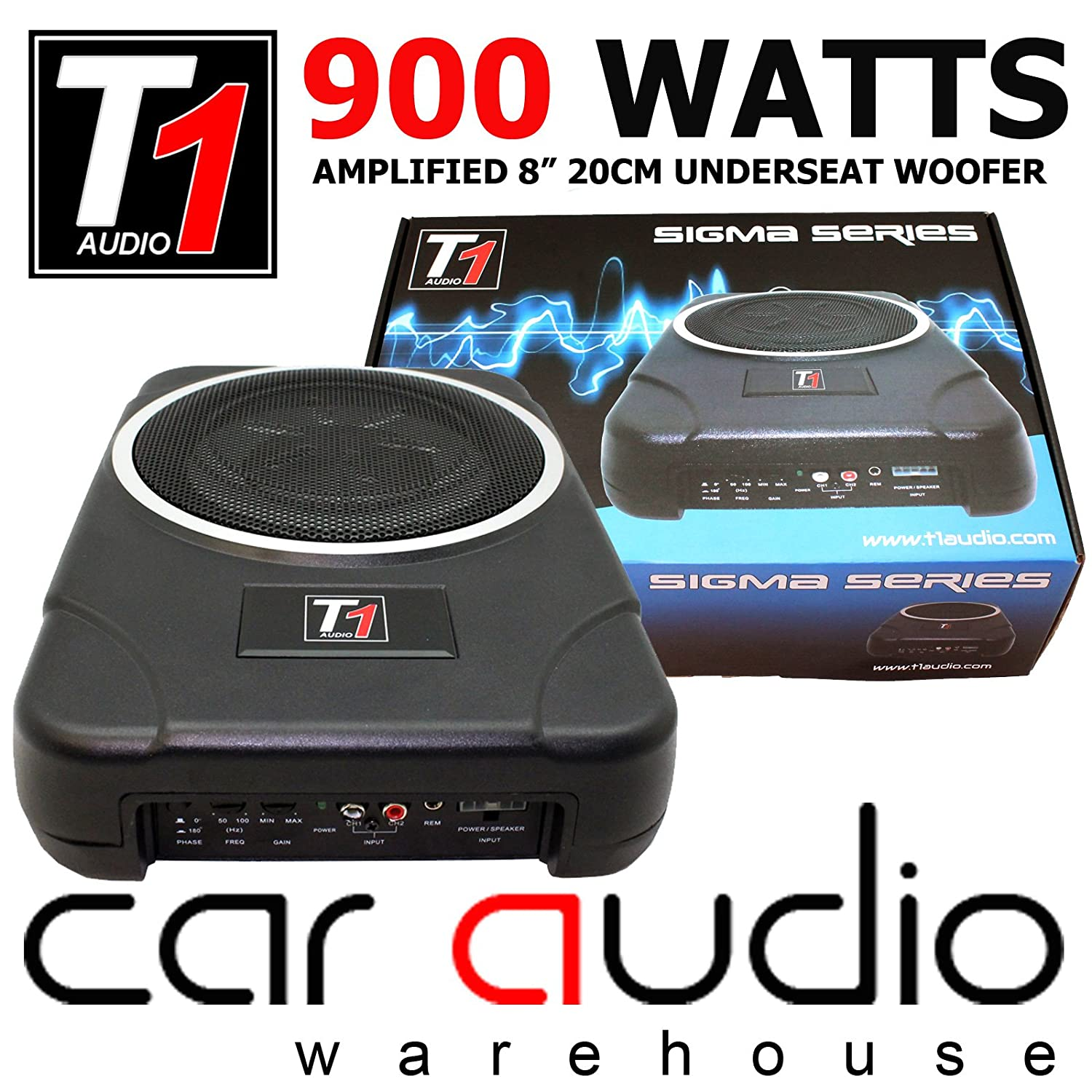 T1 audio 8 20cm 900 watts under seat active car amazon co uk electronics
