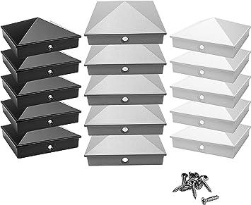 tapa de cubierta // tapa decorativa   inoxidable pir/ámide paquete de 5 // 10 pintado en polvo en 3 colores 5, plata tapas de poste 9x9 cm de aluminio fundido de alta calidad