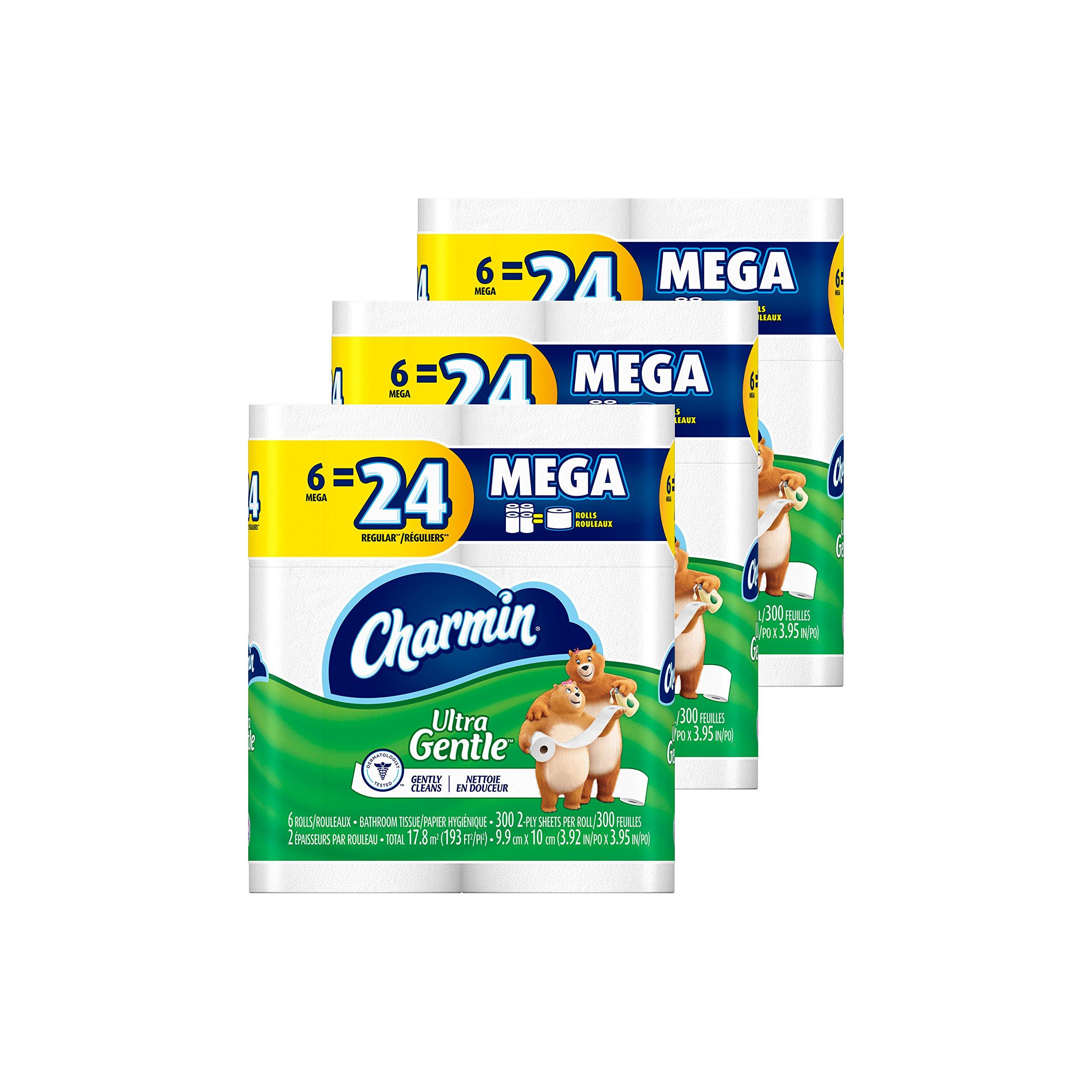 Charmin Ultra Gentle Toilet Paper 6 Mega Rolls (Pack of 3)