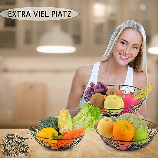 DIYARTS Cesta Colgante de Frutas de 3 Capas Cesta Colgante de Verduras Cesta de Almacenamiento de Cocina Hueco Creativo Desmontable para Cesta Sala de Estar Cocina