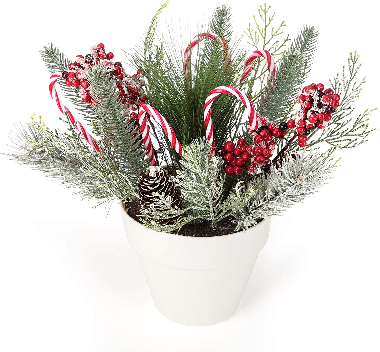 iPEGTOP 14.2 inches Holiday Tree Christmas Centerpiece Potted Tabletop Tree Artificial Plants, Christmas Crutch Plastic Candy Cane Fake Greenery Plant Pine Red Berries for Home Office Decor