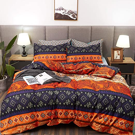 Luxury 3 Piece Bohemian Duvet Cover Bedding Set Pillowcase Double /& King Size