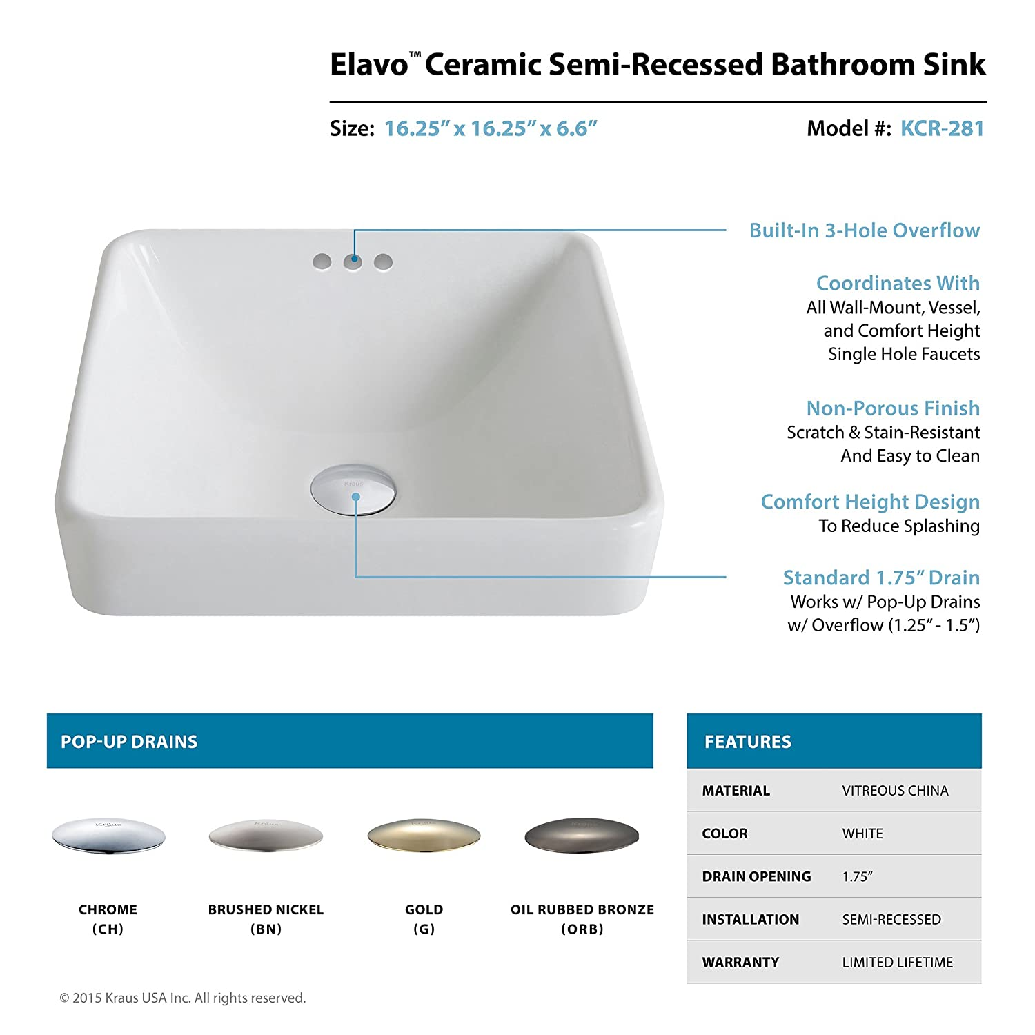 Chrome//White Kraus KCR-281-CH Modern Elavo Ceramic Square Semi-Recessed Bathroom Sink with Overflow and Pop Up Drain