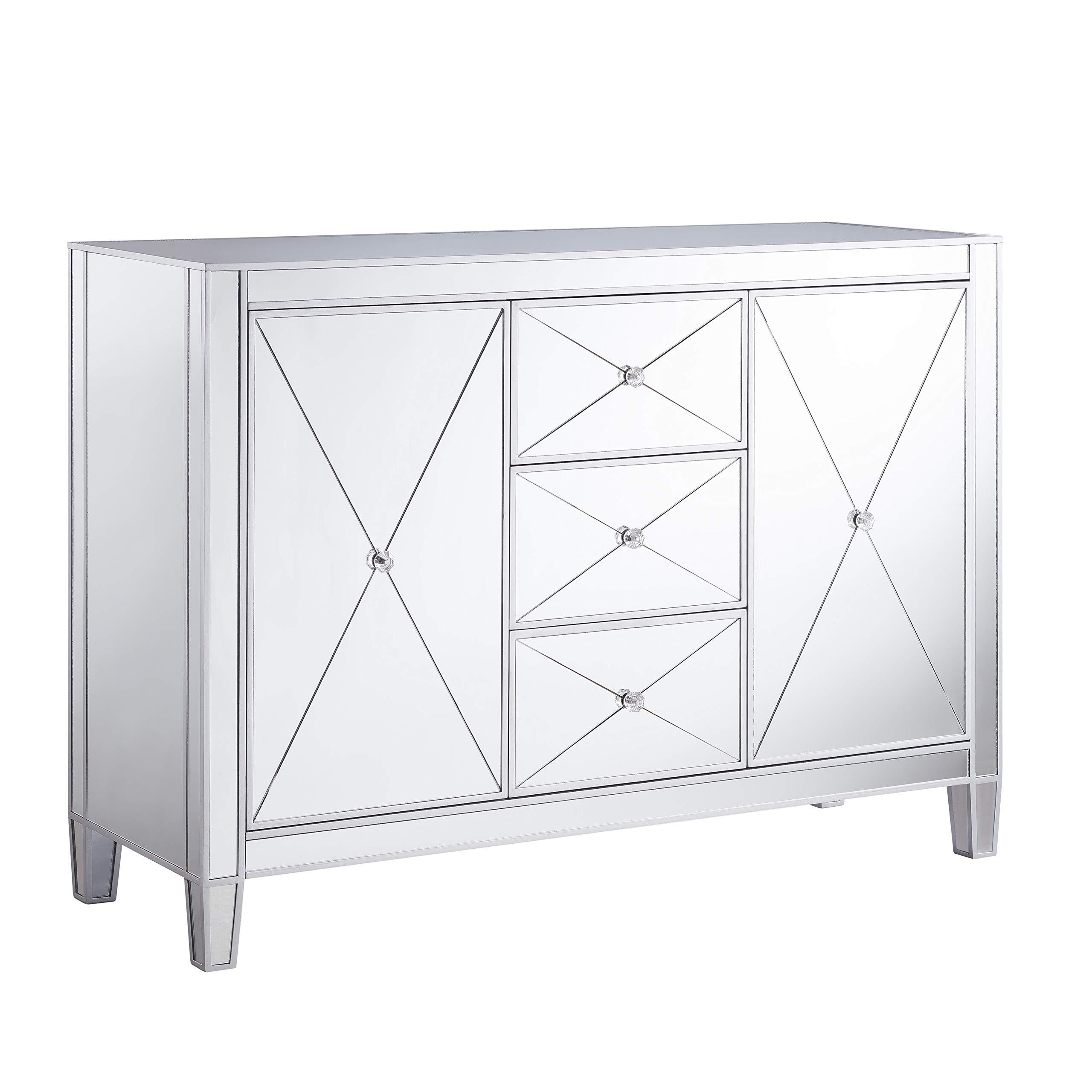 Southern Enterprises Mirage Cabinet, 16 X 32.25, Mirrored with matte silver trim by Southern Enterprises