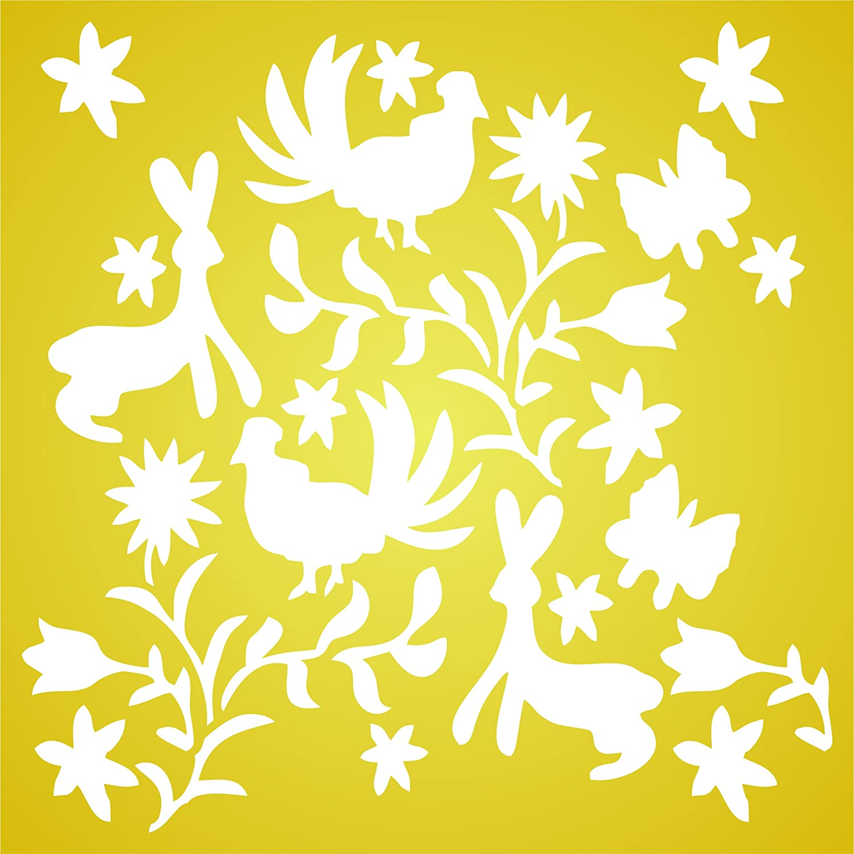 Amazon.com: Otomi Pattern Stencil - 10 x 10 inch (M) - Reusable ...
