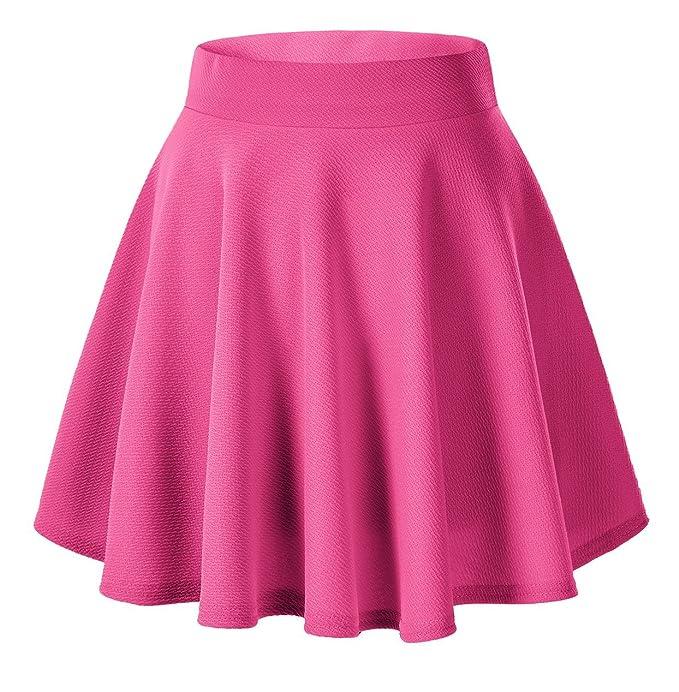 Faldas neón plisada corta de color rosa flúor