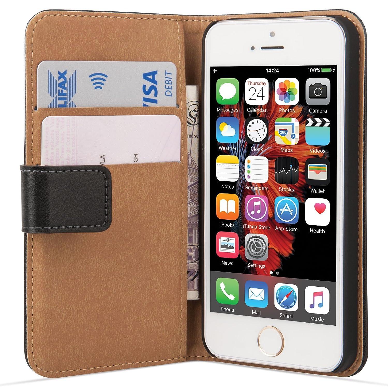 Caseflex Leather Wallet Cover Case for iPhone SE - Black