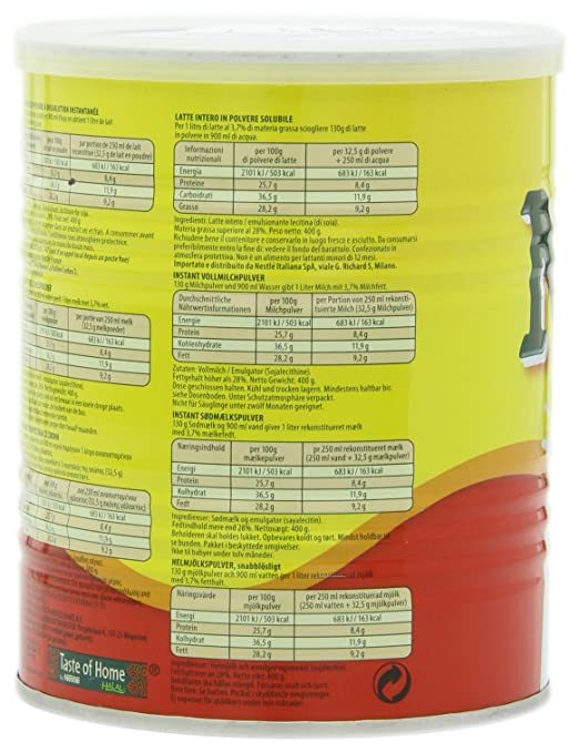 Nestle Nido Milk Powder, Imported, (400 gm), 14.1-Ounce Cans (Pack of 3): Amazon.es: Alimentación y bebidas
