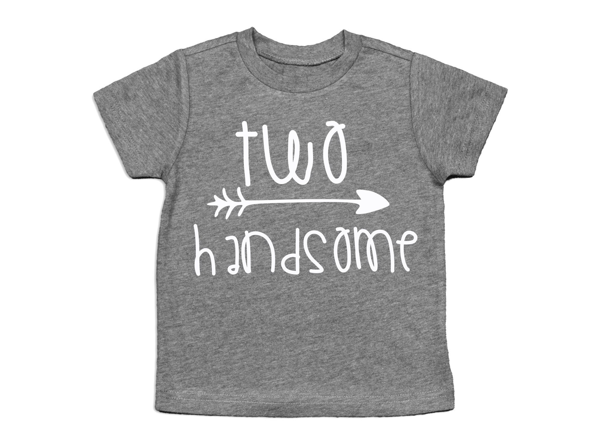 Second Birthday Shirt Two Handsome Shirt 2nd Birthday Tee (Heather Gray, 2T)