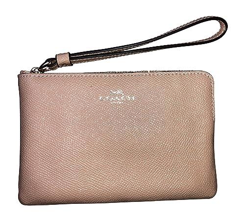 b6e84cd05bace Coach Crossgrain Leather Glitter Corner Zip Wristlet (Beechwood)   Amazon.co.uk  Shoes   Bags