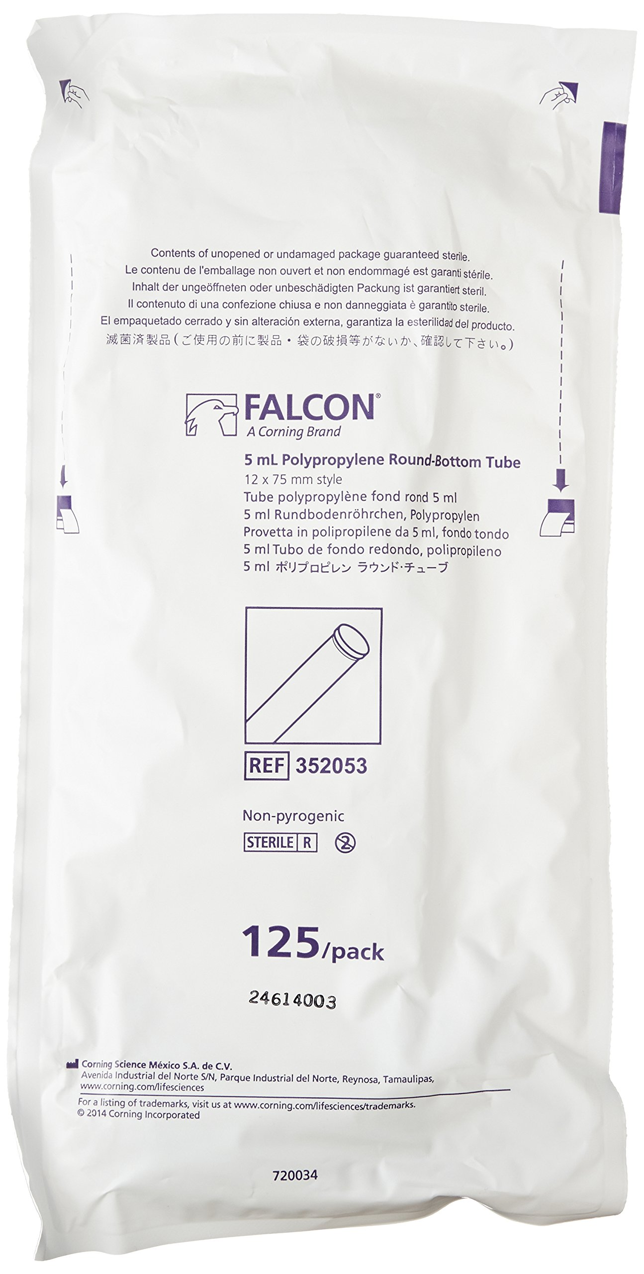 BD 352053 Falcon Polypropylene Round Bottom Centrifuge Test Tube, 12mm Diameter x 75mm Length, 5mL Capacity, 3000 RCF (Case of 1000)