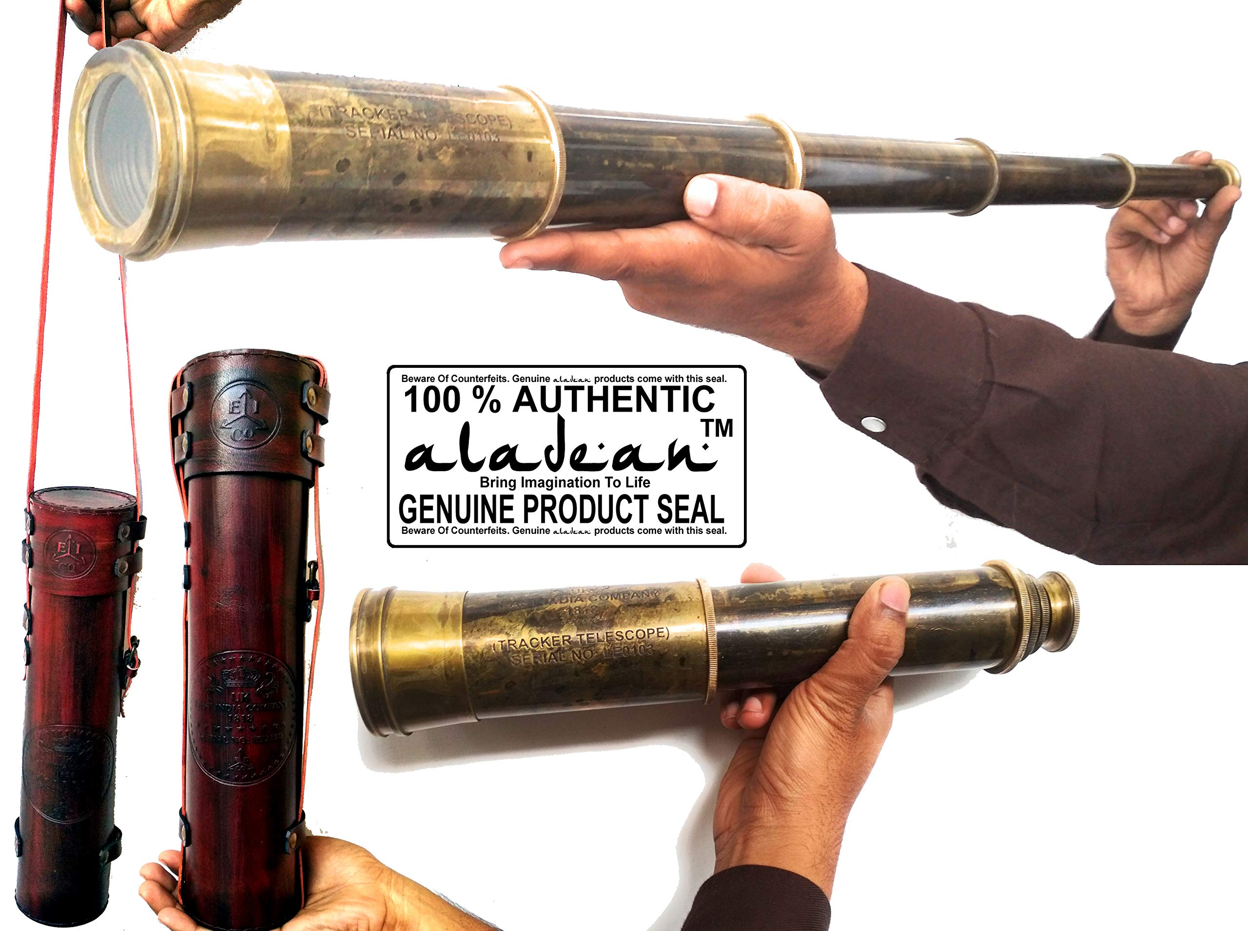 Aladean Rare Brass Telescope East India Company 1818 Tracker Spyglass Scope Replica Antique 32 inch Large Vintage Souvenir with Handstitched Leather Case by Aladean