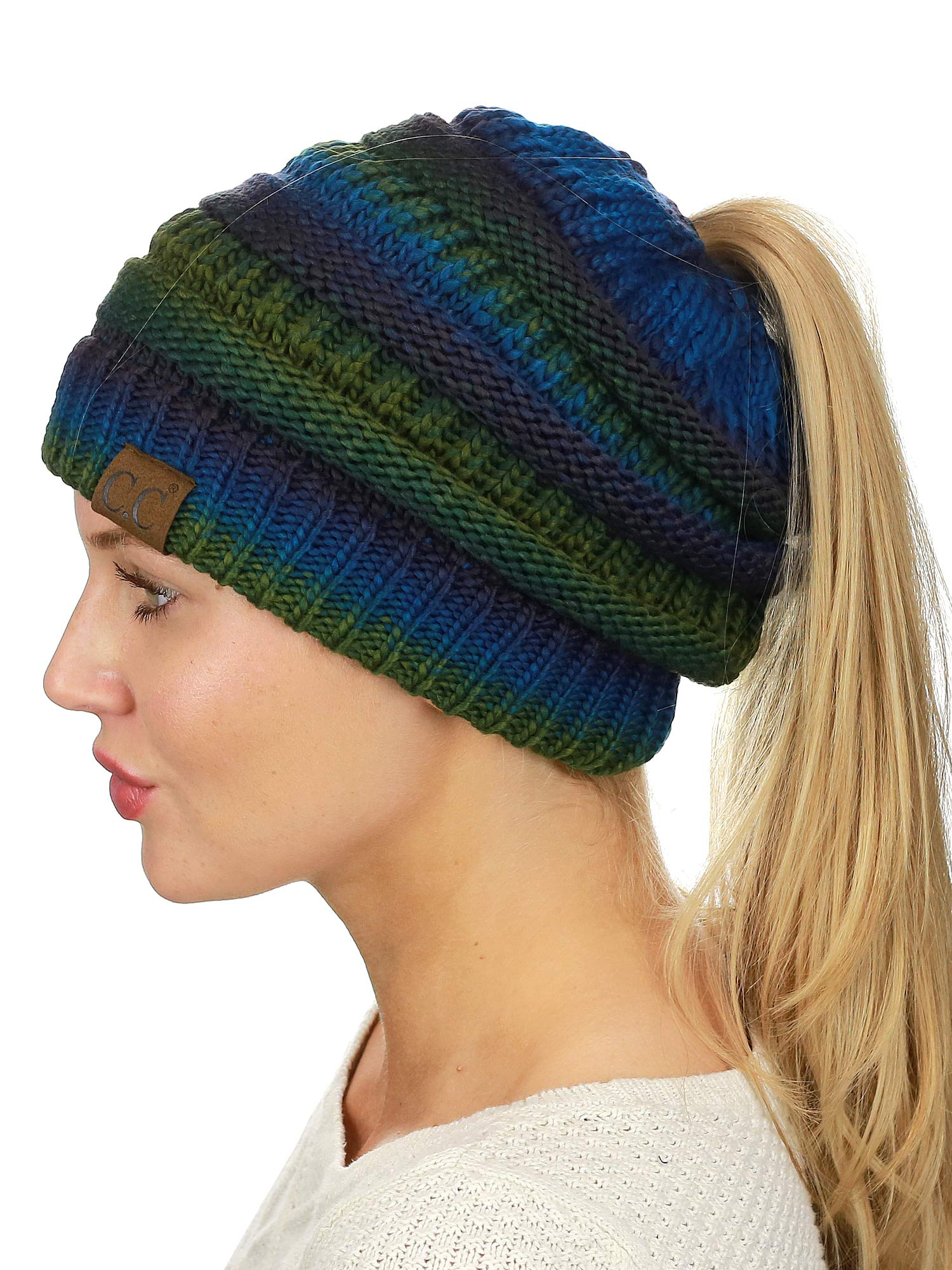 C.C BeanieTail Soft Stretch Cable Knit Messy High Bun Ponytail Beanie Hat, Teal Tribal Blend