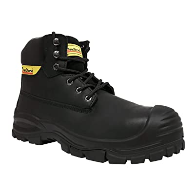 Overstone Men's 6 Inch Leather Work Boots, Steal Toe, Anti-Static, Puncture Resistant Protection, Safety Leather Shoes, Industrial and Construction Work Boots: Shoes
