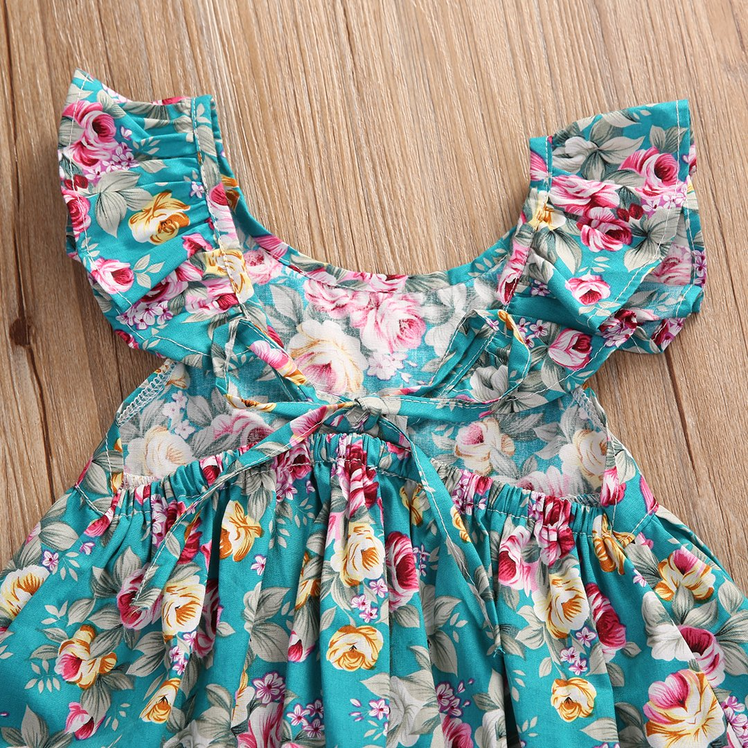 Baby Girls 2pcs Clothes Skirt Set Lotus Leaf Collar Ruffled Floral Dress+Bottom