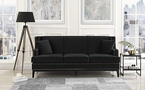 Modern Soft Velvet Sofa with Nailhead Trim Detail (Black)
