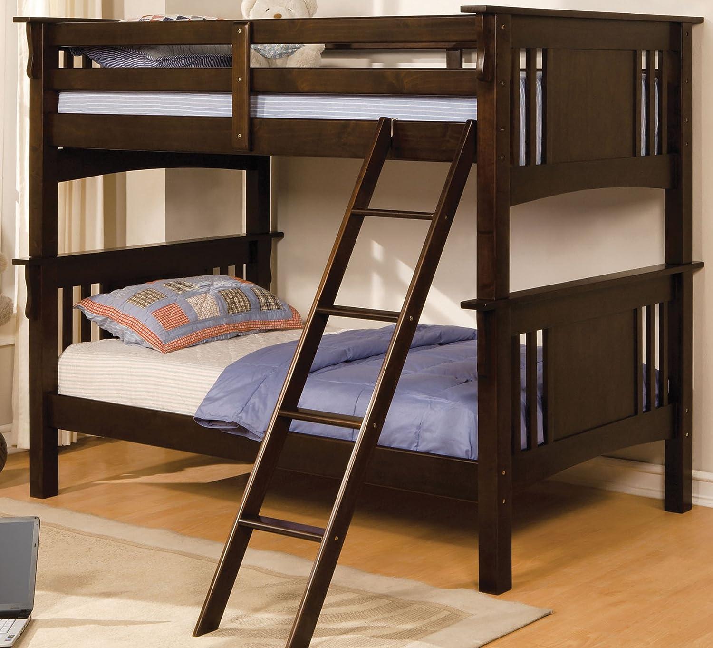 Furniture of America Perry Bunk Bed, Twin Over Twin, Dark Walnut