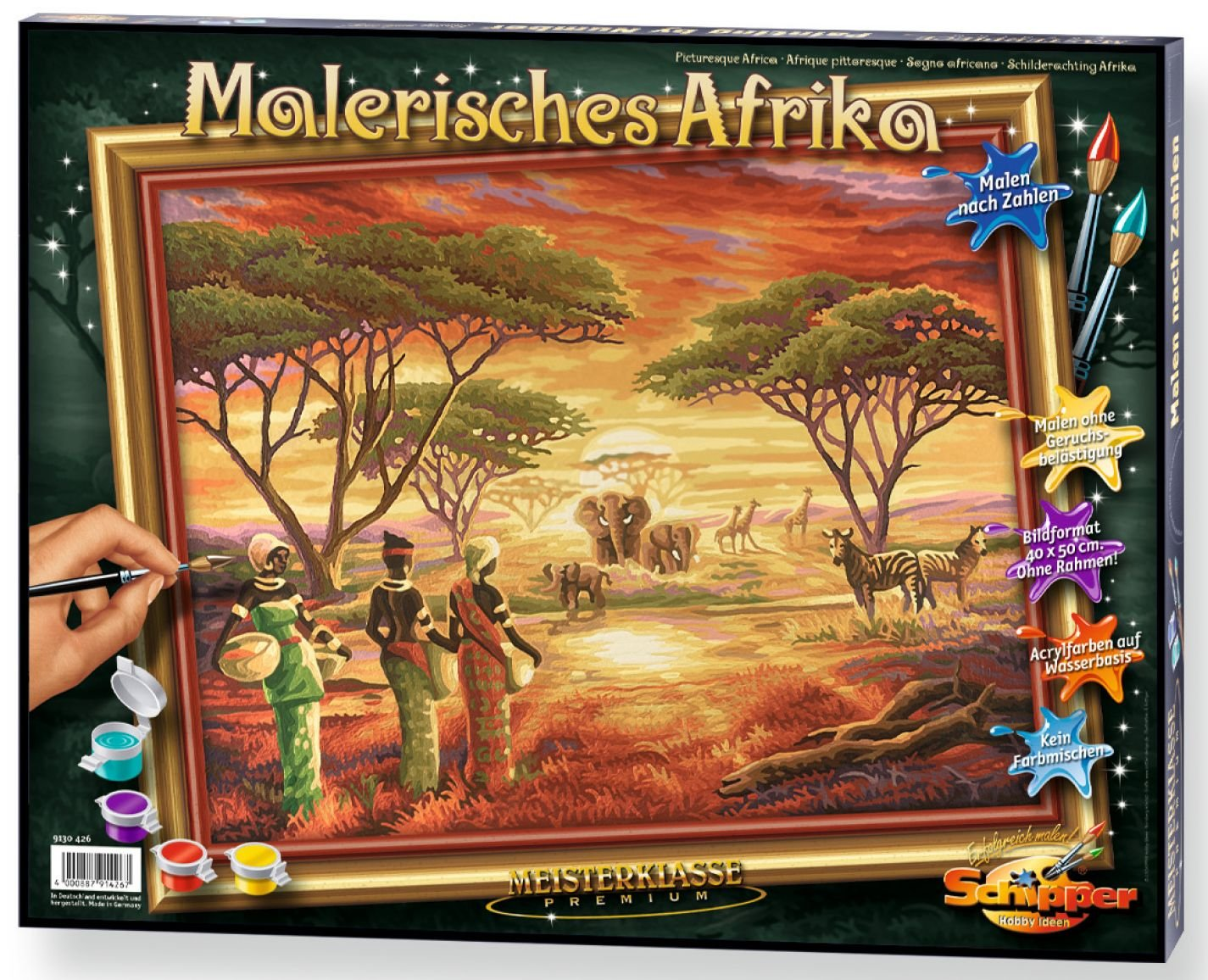 Picturesque Africa Artist-Styled Paint-by-Number Kit