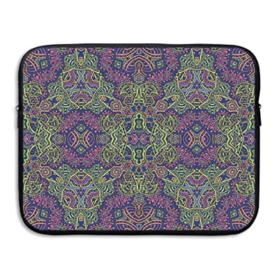 XINSHOU Fractal Pattern 90s Style Tribal Themed Modern Mandala Bohemian Hippie Print Laptop Sleeve Case Bag Cover For 13-15 Inch Notebook Computer